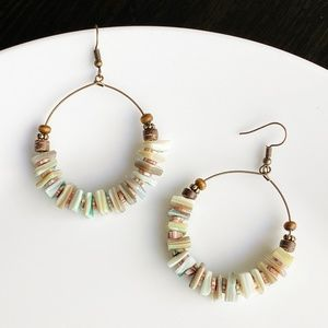 "Jewelry - NEW ""Canyon"" Shell Round Earrings (green)"